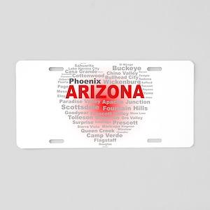 Arizona Word Cloud Heart Aluminum License Plate