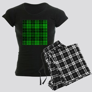 Green Tartan Wool Material Women's Dark Pajamas