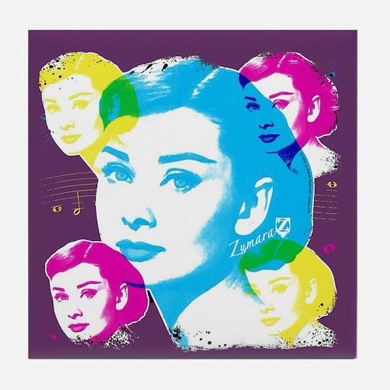 Audrey Hepburn Color Collage Tile Coaster