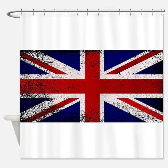 Grunge Union Jack Flag Shower Curtain