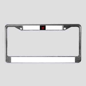 Red Skull With Eye Patch License Plate Frame