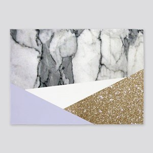 Lilac Glitter White Marble 5'x7'Area Rug
