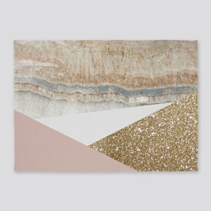Pink Gold Glitter Marble 5'x7'Area Rug