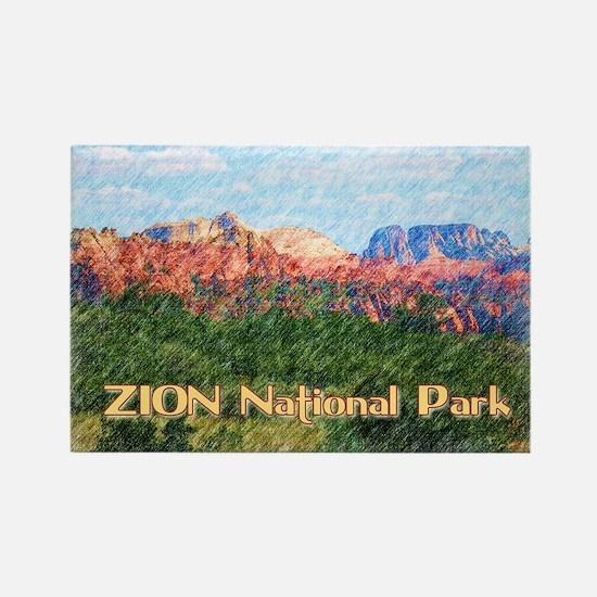Unique Zion national park Rectangle Magnet