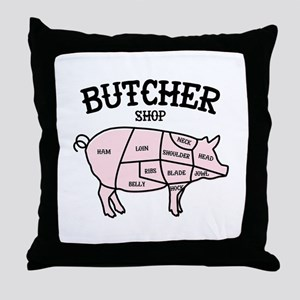 Butcher Shop Throw Pillow