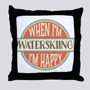 happy waterskier Throw Pillow