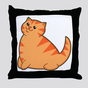 Happy Fat Orange Cat Throw Pillow