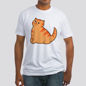 Happy Fat Orange Cat Fitted T-Shirt