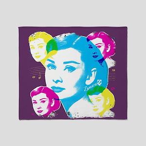 Audrey Hepburn Color Collage Throw Blanket