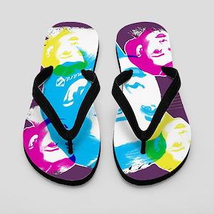 Audrey Hepburn Color Collage Flip Flops