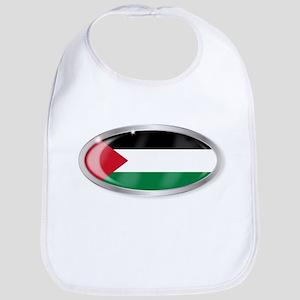Palestine Flag Oval Button Bib
