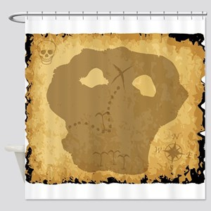 Old Pirate Treasure Map Shower Curtain