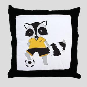 Raccoon Soccer Player Throw Pillow