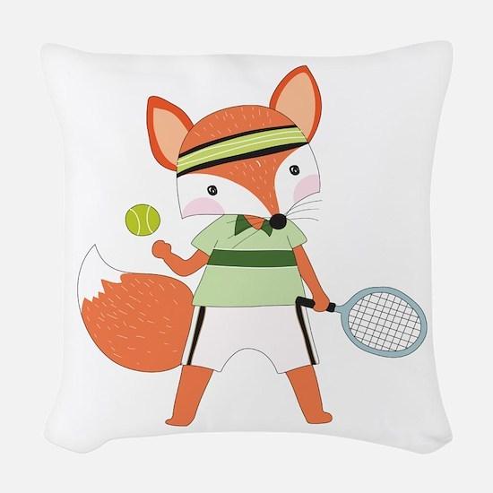 Red Fox Tennis Woven Throw Pillow