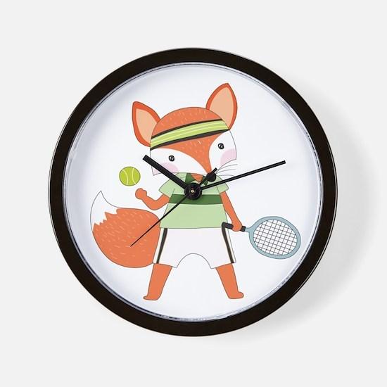 Red Fox Tennis Wall Clock