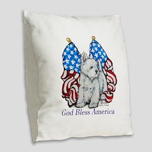 God Bless Westies Burlap Throw Pillow