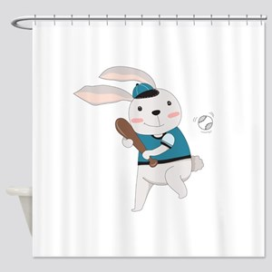 Cartoon Bunny Baseball Shower Curtain