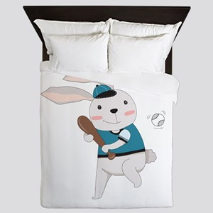 Cartoon Bunny Baseball Queen Duvet