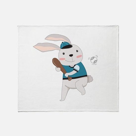 Cartoon Bunny Baseball Throw Blanket
