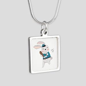 Cartoon Bunny Baseball Silver Square Necklace