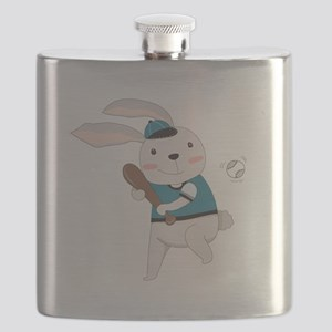 Cartoon Bunny Baseball Flask