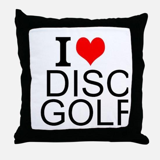 I Love Disc Golf Throw Pillow
