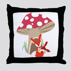 Red Fox and Baby Throw Pillow