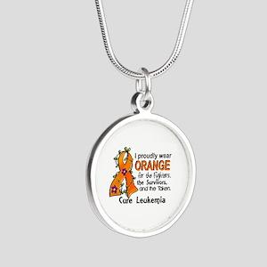 Orange For Fighters Survivor Silver Round Necklace