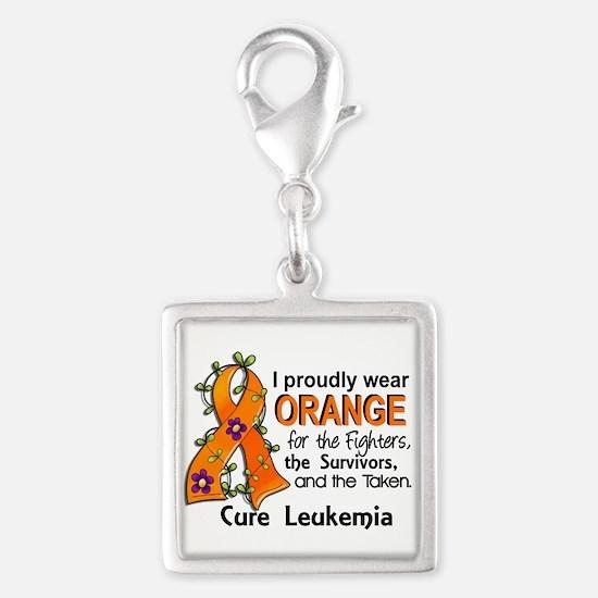 Orange For Fighters Survivors Silver Square Charm