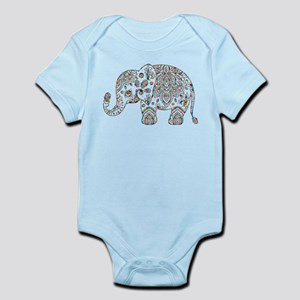 Colorful paisley Cute Elephant Illustrat Body Suit