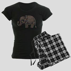 Colorful paisley Cute Elepha Women's Dark Pajamas