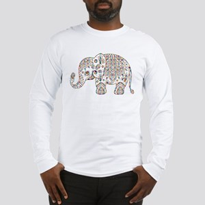 Colorful paisley Cute Elephant Long Sleeve T-Shirt