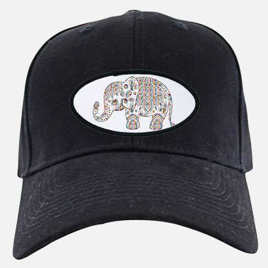 Colorful paisley Cute Elephant Illustrat Baseball Hat