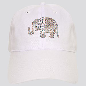 Colorful paisley Cute Elephant Illustration Cap