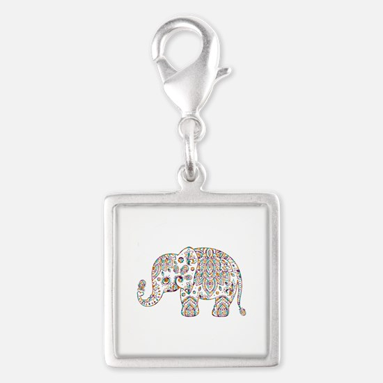 Colorful paisley Cute Elephant Illustration Charms