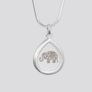 Colorful paisley Cute Elephant Illustrat Necklaces