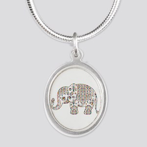 Colorful paisley Cute Elephant Illustrat Necklaces