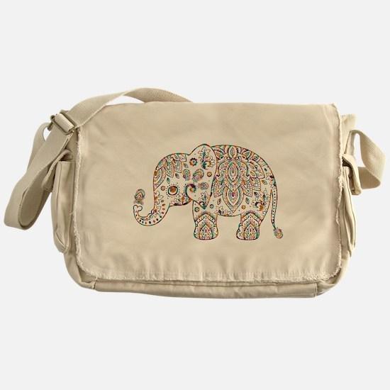 Colorful paisley Cute Elephant Illus Messenger Bag