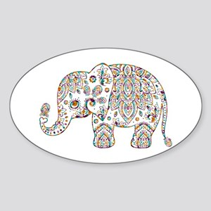 Colorful paisley Cute Elephant Illustratio Sticker