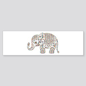 Colorful paisley Cute Elephant Illu Bumper Sticker