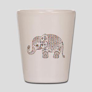 Colorful paisley Cute Elephant Illustra Shot Glass