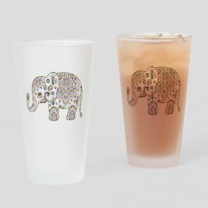 Colorful paisley Cute Elephant Illu Drinking Glass
