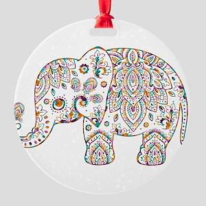 Colorful paisley Cute Elephant Illu Round Ornament