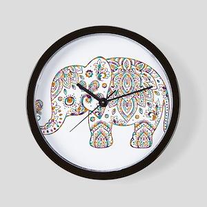 Colorful paisley Cute Elephant Illustra Wall Clock