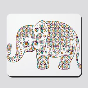 Colorful paisley Cute Elephant Illustrat Mousepad