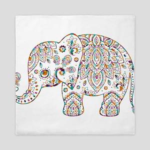 Colorful paisley Cute Elephant Illustr Queen Duvet