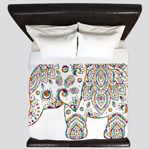 Colorful paisley Cute Elephant Illustra King Duvet