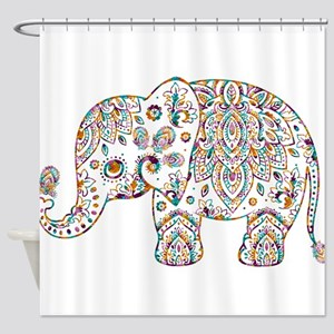 Colorful paisley Cute Elephant Illu Shower Curtain