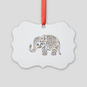 Colorful paisley Cute Elephant Il Picture Ornament