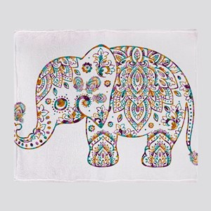 Colorful paisley Cute Elephant Illus Throw Blanket